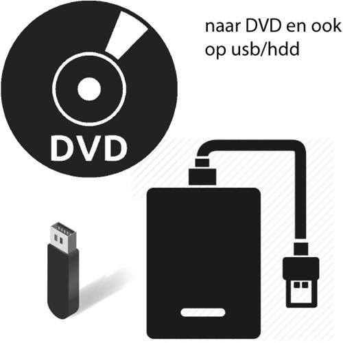 Opslag op USB/HDD én op DVD Prijs op naberekening, ligt aan aantal te maken DVD's