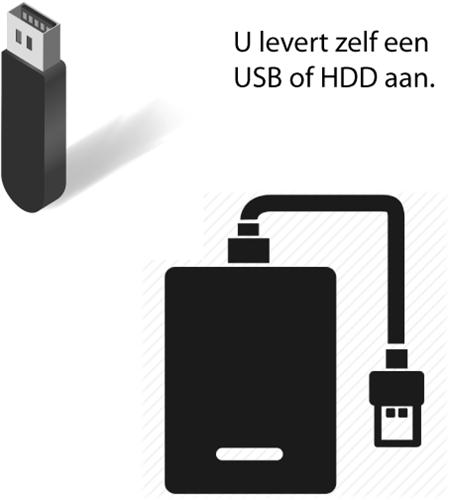 U levert zelf een USB of externe harde schijf mee